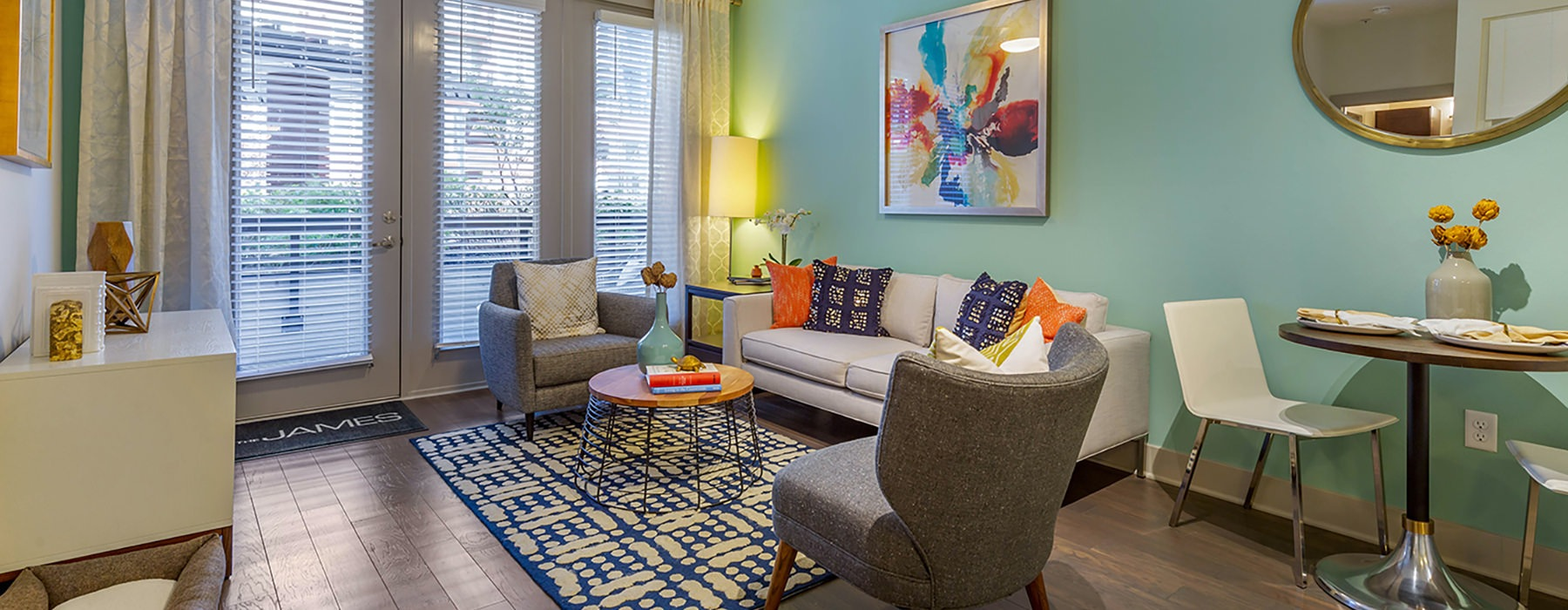 Comfy, bright living room with vibrant colors and furniture