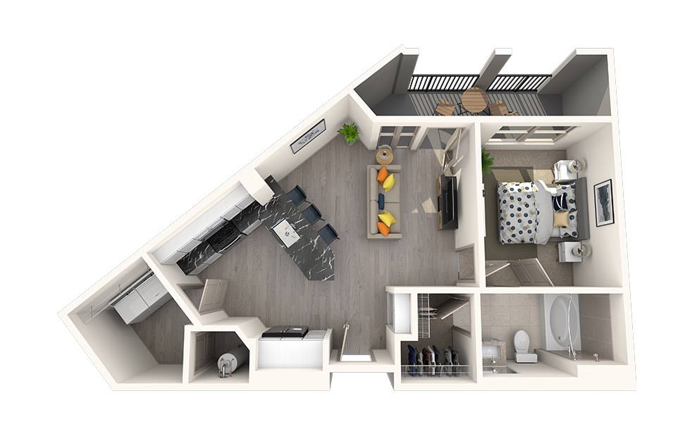 A1A - 1 bedroom floorplan layout with 1 bath and 656 square feet.