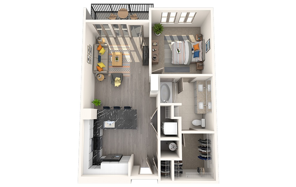 A1B - 1 bedroom floorplan layout with 1 bath and 734 square feet.