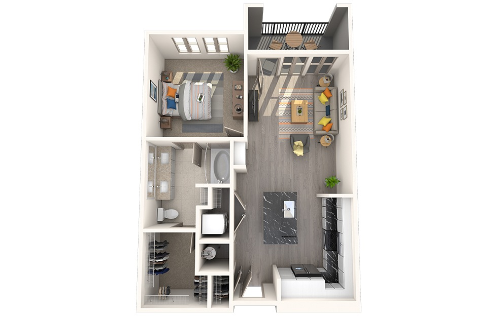 A1C - 1 bedroom floorplan layout with 1 bath and 734 square feet.
