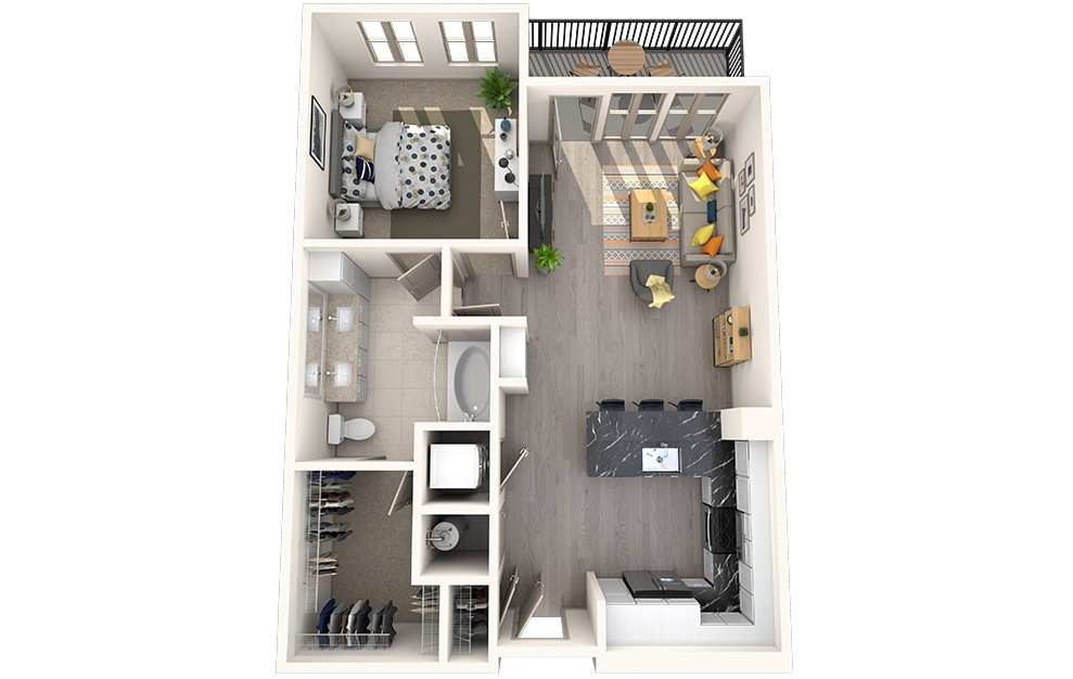 A1D - 1 bedroom floorplan layout with 1 bath and 752 square feet.