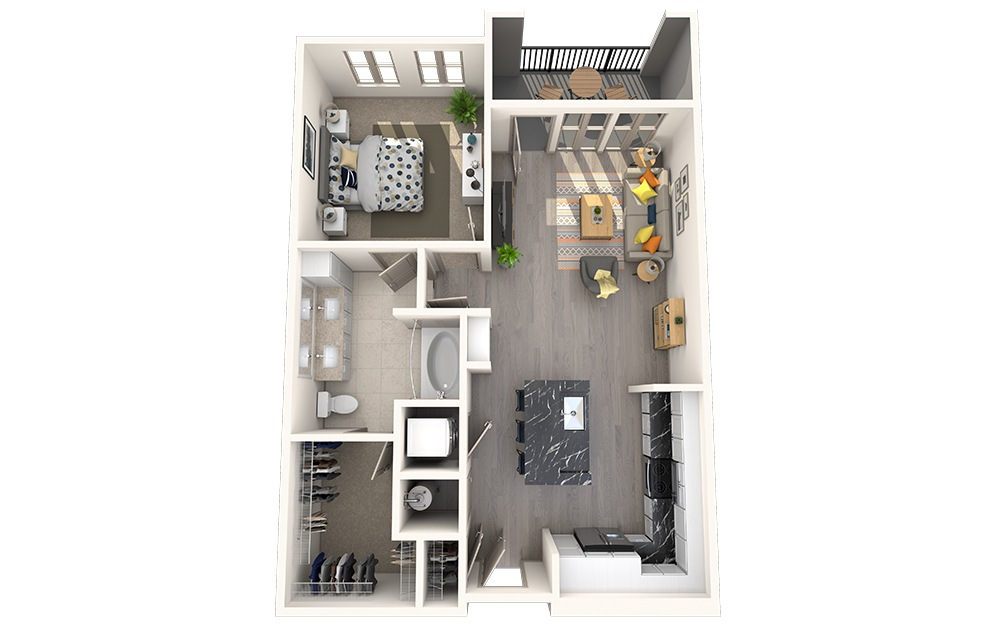 A1E - 1 bedroom floorplan layout with 1 bath and 752 square feet.