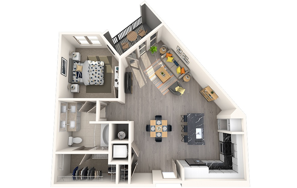 A1F - 1 bedroom floorplan layout with 1 bath and 866 square feet.