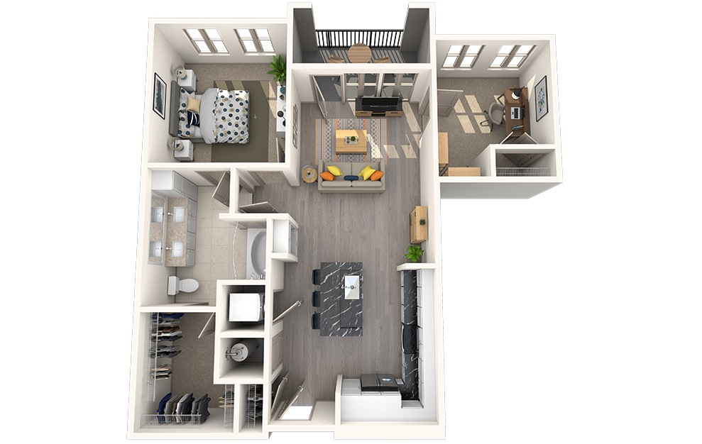 A1G - 1 bedroom floorplan layout with 1 bath and 873 square feet.