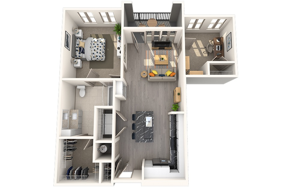 A1H - 1 bedroom floorplan layout with 1 bath and 873 square feet.