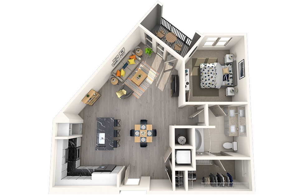 A1I - 1 bedroom floorplan layout with 1 bath and 880 square feet.