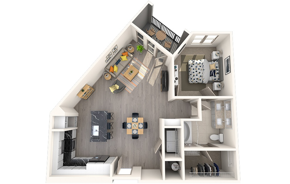 A1J - 1 bedroom floorplan layout with 1 bath and 880 square feet.