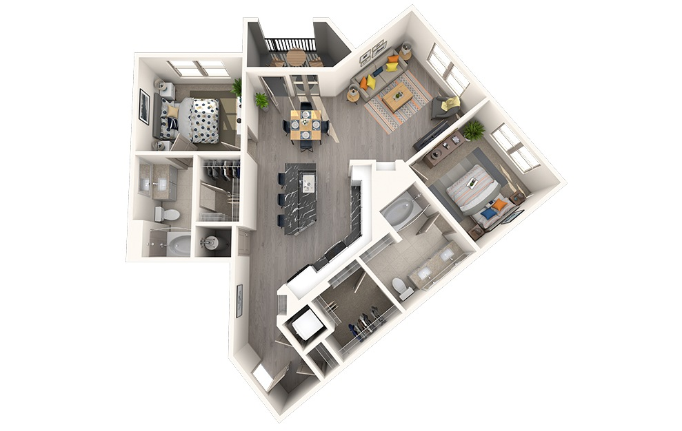 B2A - 2 bedroom floorplan layout with 2 baths and 1053 square feet.
