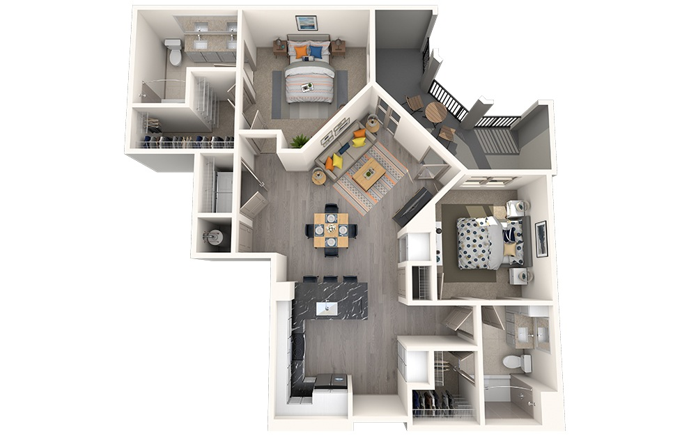 B2B - 2 bedroom floorplan layout with 2 baths and 1080 square feet.