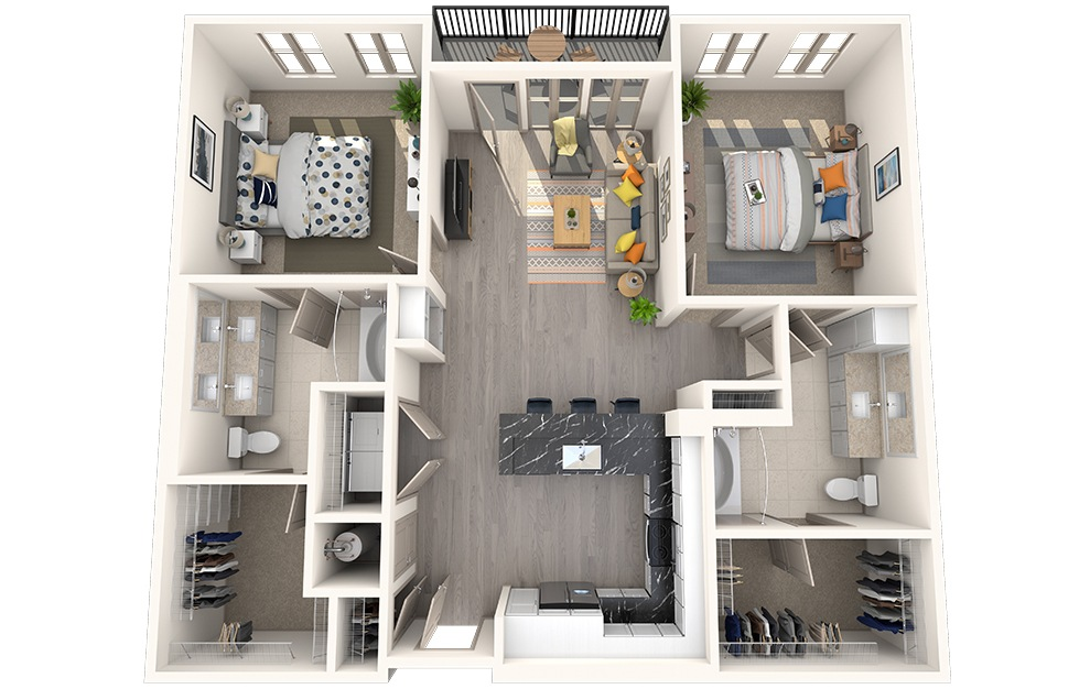 B2C - 2 bedroom floorplan layout with 2 baths and 1120 square feet.