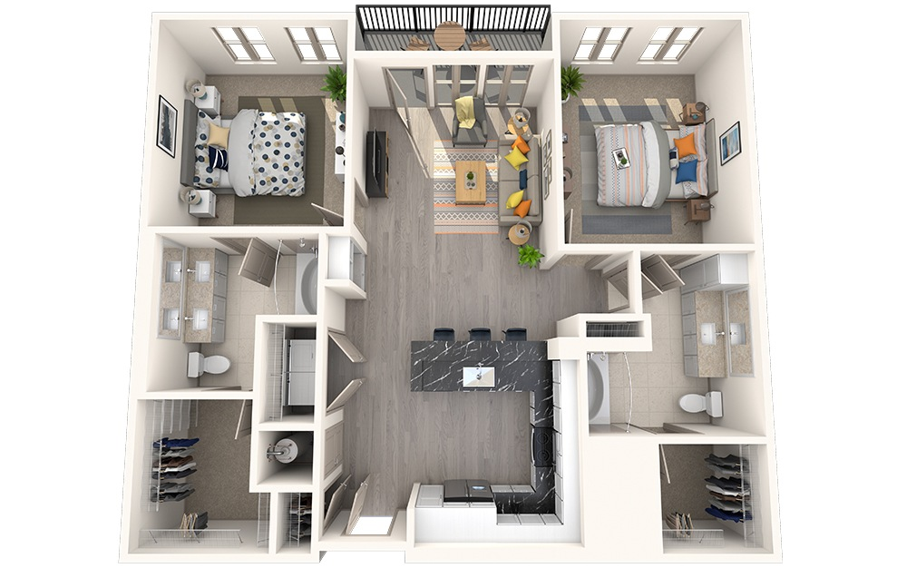 B2E - 2 bedroom floorplan layout with 2 baths and 1120 square feet.
