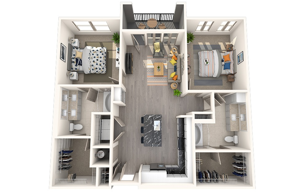 B2F - 2 bedroom floorplan layout with 2 baths and 1120 square feet.