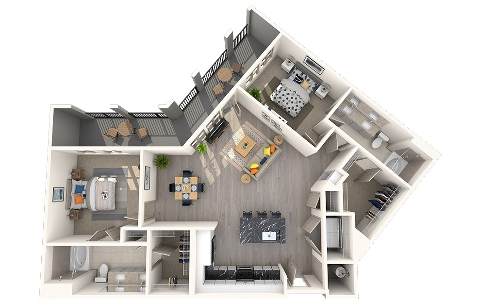 B2G - 2 bedroom floorplan layout with 2 baths and 1165 square feet.