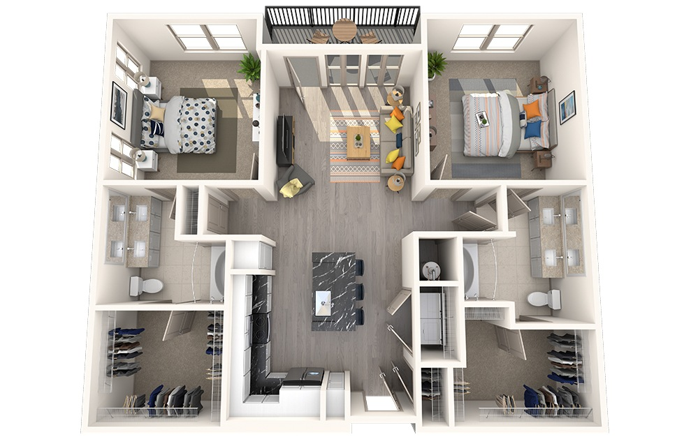 B2H - 2 bedroom floorplan layout with 2 baths and 1181 square feet.