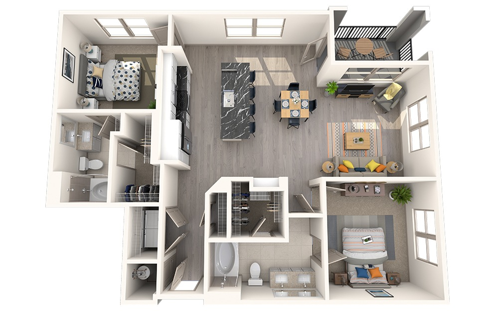 B2I - 2 bedroom floorplan layout with 2 baths and 1193 square feet.
