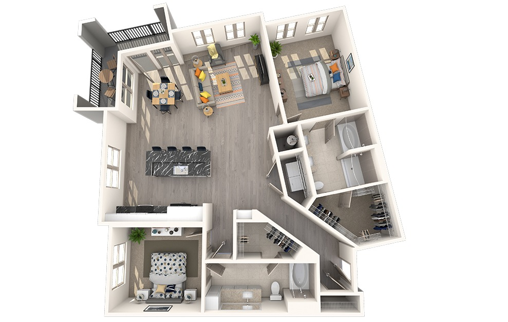 B2J - 2 bedroom floorplan layout with 2 baths and 1314 square feet.