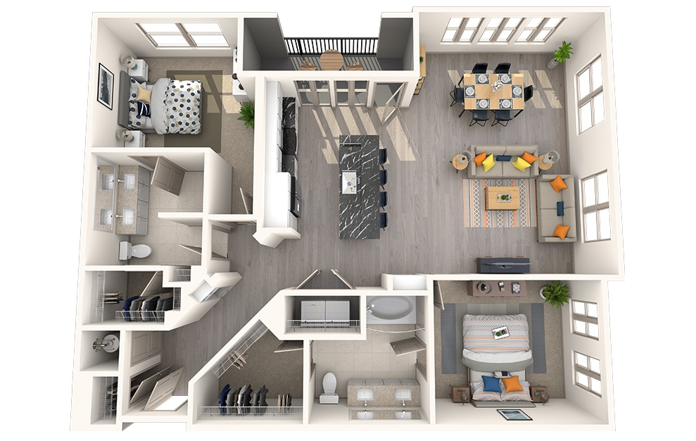 B2K - 2 bedroom floorplan layout with 2 baths and 1373 square feet.