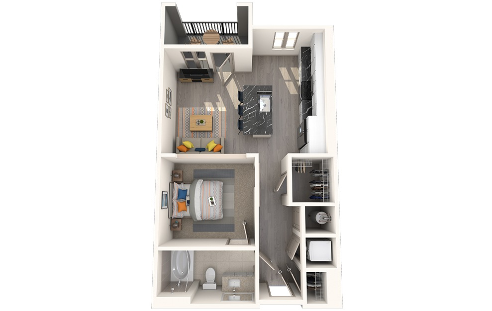 S1A - Studio floorplan layout with 1 bath and 612 square feet.